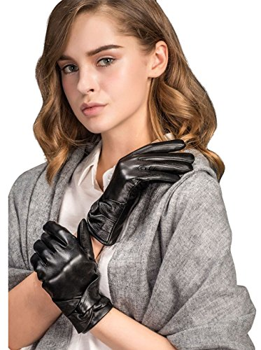 YISEVEN Women's Touchscreen Lambskin Dress Leather Gloves with Knot Wool Lined Fashion Chic Design and Soft Warm Heated Lining for Ladies Winter Driving Motorcycle Work Gifts, Black (Lined Lamb Dress Glove)