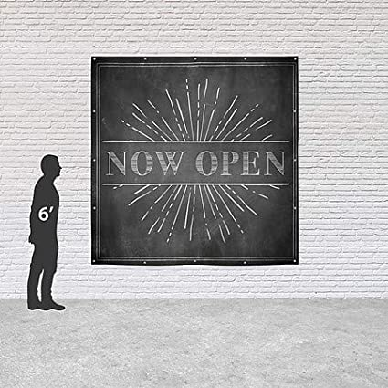 CGSignLab Chalk Burst Heavy-Duty Outdoor Vinyl Banner 8x8 Now Open
