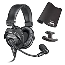 Audio Technica BPHS1 Broadcast Stereo Headset -INCLUDES- Antlion Audio Pro Gaming Mosusepad and Blucoil Headphone Hook - GAMING BUNDLE