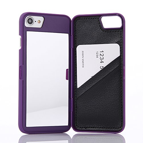 Wetben Case for iPhone 8,Hidden Back Mirror Wallet Case with Stand Feature and Card Holder for Apple iPhone 7/8, 4.7 (Purple)