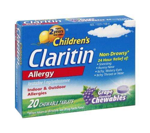 Claritin Children's, 24 Hour Allergy Tablets, Grape, 20 ea