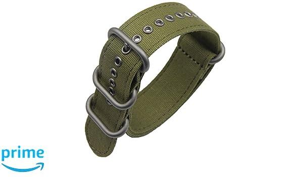 correas de reloj de una sola pieza estilo de la NATO exótica lienzo 20mm  ejército verde de lujo de los hombres exquisitos correas textiles   Amazon.es  ... 0773dcea8630