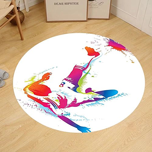 Gzhihine Custom round floor mat Sports Decor Soccer Man Kicks the Ball in the Air Digital Watercolors Success Energy Feet Bedroom Living Room Dorm Multicolor by Gzhihine