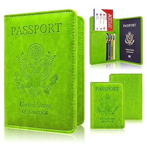 Passport Holder Case, ACdream Protective Premium PU Leather RFID Blocking Wallet Case for Passport, Apple Green