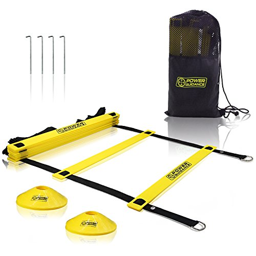 POWER GUIDANCE Agility Ladder (19 Feet) for Speed & Agility Trainning - with 12 Heavy Duty Plastic Rungs, Ground Stakes, Carry Bag & 8 Sports Cones (Yellow)