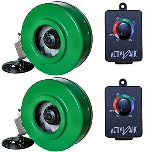 (2) HYDROFARM ACDF6 Active Air 6'' In-Line Fans + (2) ACSC Fan Speed Controllers by Hydrofarm