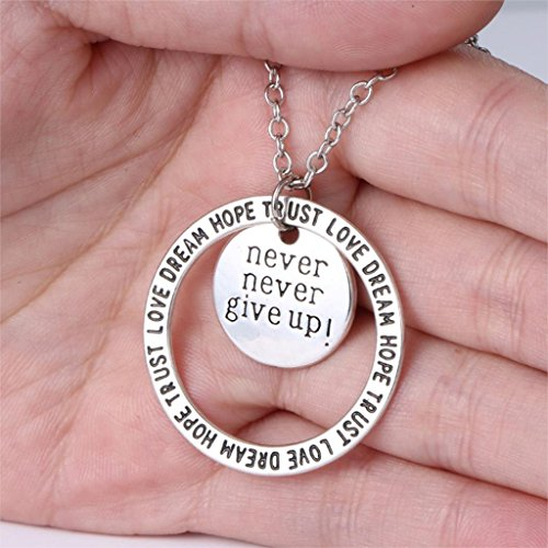 Never Never Give Up Pendant Necklace – Inspirational Jewelry – Personalized Jewelry Gift for Women and Men