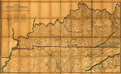 1863 18 x 23 Old Vintage Antique Map Military map The States Kentucky Tennessee, Within Eleven Miles The 35th Parallel Latitude Southern Boundary Tennessee; compiled from The by Vintography