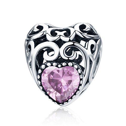 (BAMOER Charm Bead and Sterling Silver Charm for Teen Blue Sky Radiant Hearts with Zirconia for)