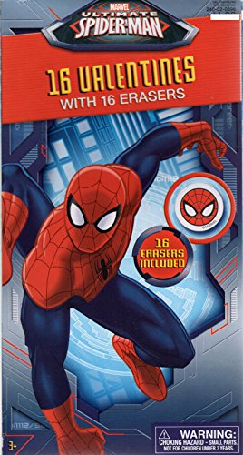 Spiderman Valentine Cards for Kids with Erasers - Pkg. of 16 (39270)