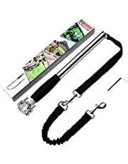 NEWURBAN Dog Bike Leash, Easy Installation Removal Hand Free Dog Bicycle Exerciser Leash for Exercising Training Jogging Cycling and Outdoor Safe with Pets (Steel and Black Handle)