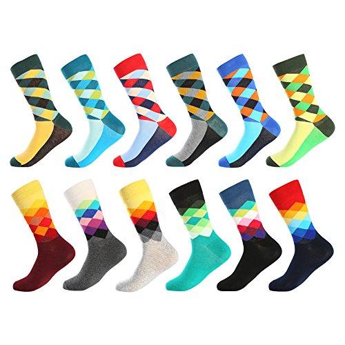 Bonangel Men's Fun Dress Socks - Colorful Funny Novelty Crazy Crew Socks Pack ()
