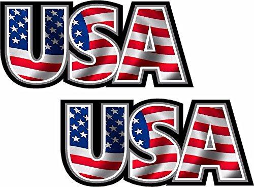 "2-3"" x 1.3"" USA Decal Set American Flag United States Vinyl Car Bumper Sticker Car Bumper Window"
