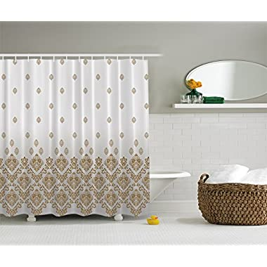 Ambesonne Damask Home Decorations Bathroom Accessories Collection, Vintage Romantic Country Victorian Style with Ombre Background Floral Art Print, Polyester Fabric Shower Curtain, Gold Gray White