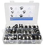 Cable Clamp, 52 Pieces 304 Stainless Steel Rubber Cushion Pipe Clamps Assorted in 5 Size 1/4'' 5/16'' 3/8'' 1/2'' 5/8''Assortment Kit.