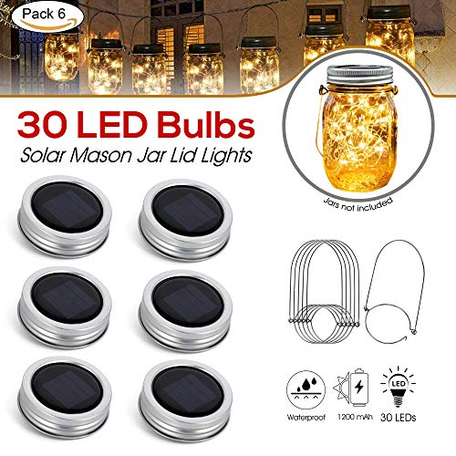 [Upgraded] Solar Mason Jar Lid Lights 30 LEDs - 1200mAh Battery | Outdoor Decor, Patio Garden Decor, Solar Lantern Table Light | 6-Pack Hangers and Lids String Fairy Firefly Lights/No Jars