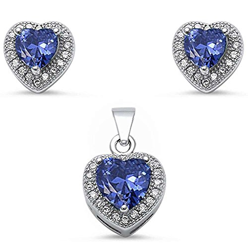 Jewelry Set Pendant Earring Halo Heart Simulated Blue Tanzanite Round CZ 925 Sterling Silver