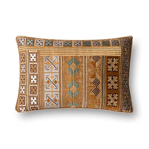 Loloi  Accent  Pillow  PSETP0498GOTEPIL5  Gold/Teal    13''  x  21''  100%  Polyester  Cover  with  Polyester  Fill
