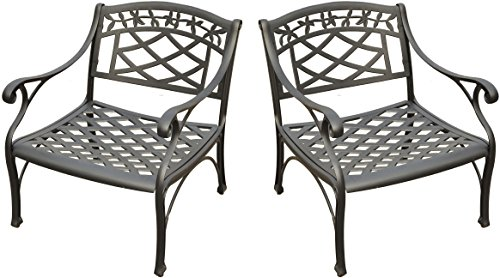 Crosley Furniture Sedona 2-Piece Solid-Cast Aluminum Outdoor Conversation Set with 2 Club Chairs - Black