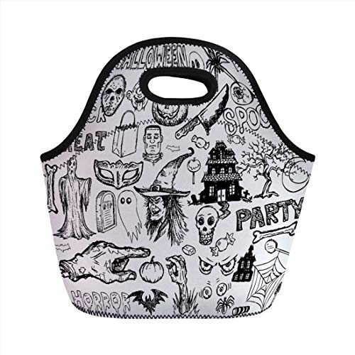 Portable Lunch Bag,Vintage Halloween,Hand Drawn Halloween Doodle Trick or Treat Knife Party Severed Hand Decorative,Black White,for Kids Adult Thermal Insulated Tote Bags ()