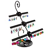 Decorative Rose Design Black Metal 3 Tier 48 Pair Earring Holder / Dresser Top Jewelry Hanger Organizer