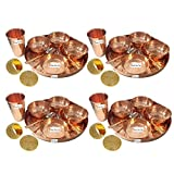Set of 4 Prisha India Craft Dinnerware Pure Copper Thali Set Dia 12'' Traditional Dinner Set of Plate, Bowl, Spoons, Glass with Napkin ring and Coaster - Christmas Gift