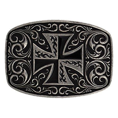 (Montana Silversmiths Iron Cross Coat of Arms Attitude Buckle (A252))