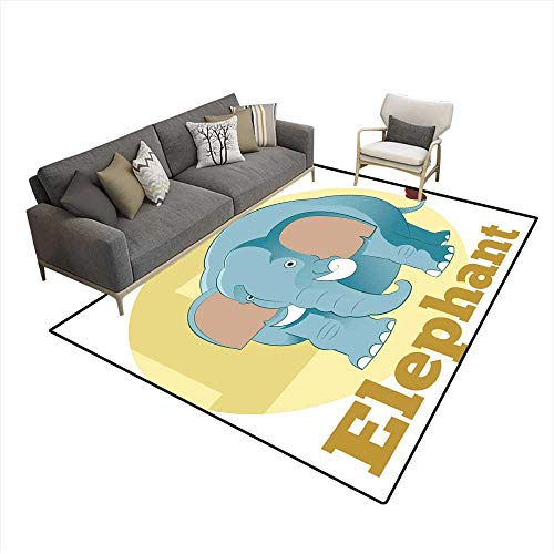 Girls Bedroom Rug ABC Cartoon Elephant