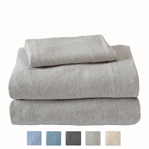 Extra Soft Heather Jersey Knit (T-Shirt) Sheet Set. Soft, Comfortable, Cozy All-Season Bed Sheets. Carmen Collection By Great Bay Home Brand. (King, Light Grey)