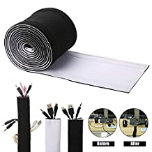 Cable Management Sleeves, Cord Organizer Neoprene, ENVEL Cover Wire Hider Concealer for TV, USB, PC, Computer, Electronics Wires, DIY by Yourself, Adjustable Black and White Reversible ( 118 inches )