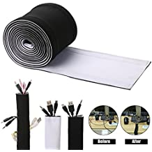 Cable Management Sleeves, ENVEL Neoprene Cord Organizer with Free Nylon for TV USB PC Computer Network Wires ( 118 inches ) DIY by Yourself, Adjustable Black and White Reversible Wire Hider