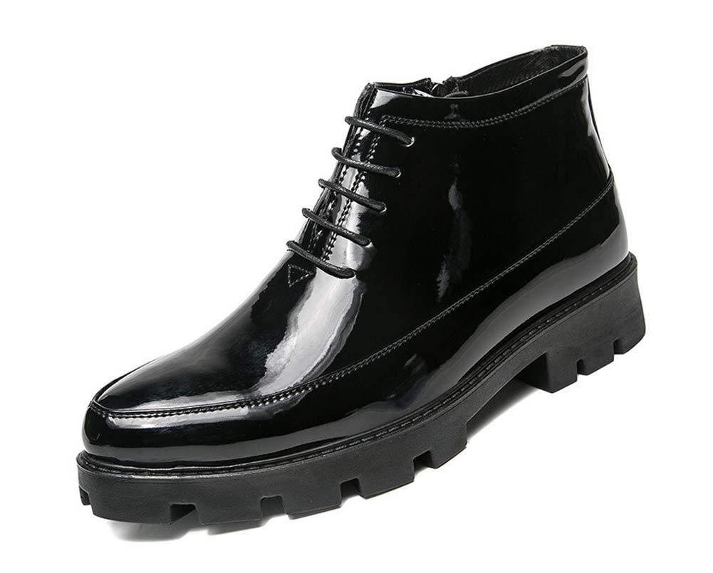 SHIXRAN Männer Chelsea Stiefelies Herbst Stiefel Mode Lackleder Wasserdichte Plattform Stiefeletten