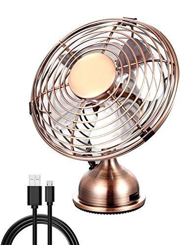 Electroben USB Desktop Cooling Fan (4 Inch), Quiet Operation, Metal Design,Art Deco Desk Fan, Powerful Fan for Home and Office - Bronze