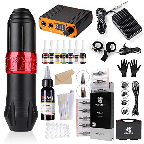 Solong Tattoo Kit Rotary Machine Pen 20pcs Needle Cartridges 8 Inks Digital Power Supply Professional EK129-1