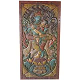 Antique Wall Hanging Hand Carved Krishna Radha Wall Art Relief Panel, Wood Carving Sculpture