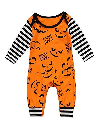 Infant Baby Boys Girls Romper Jumpsuit—Flower Print/Halloween Long Sleeve Pajamas Sleeper Coveralls Outfit (3-6 Months, Halloween) -
