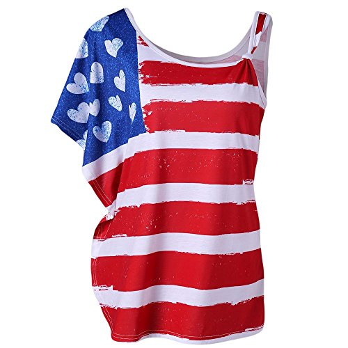 Women Short Lace Sleeveless Tank Tops Shirt Cold Shoulder American Flag Printed Tops Blouse Red