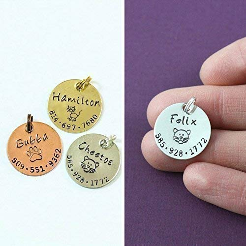Cat ID Tag - DII ABC - Small Toy Dog Identification Pet - Handstamped - 7/8 Inch Disc – Custom Design – Change Name Number - Fast 1 Day Shipping by DistinctlyIvy