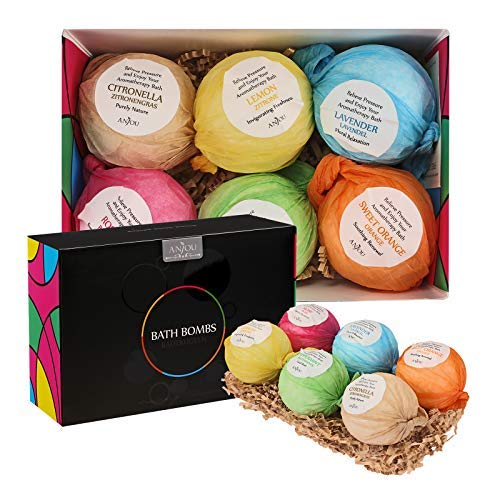 Anjou Bath Bombs Gift Set Colorless 6 X 3.5 Oz Lush Fizzies Spa Kit, Perfect for Bubble Bath, Moisturizing With Organic & All Natural Essential Oils, Jojoba Oil, Shea Butter, Perfect Mother