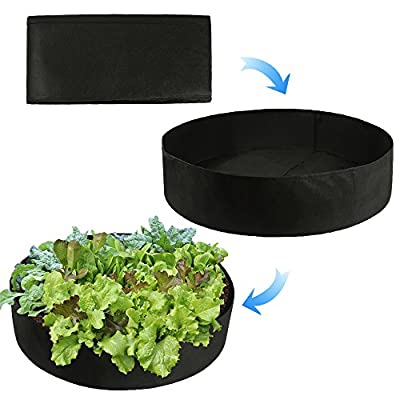 ASSR Fabric Raised Garden Bed, 50 Gallons Round Planting Container Grow Bags Breathable Felt Fabric Planter Pot for Plants, Flowers, Vegetables (Black) : Garden & Outdoor