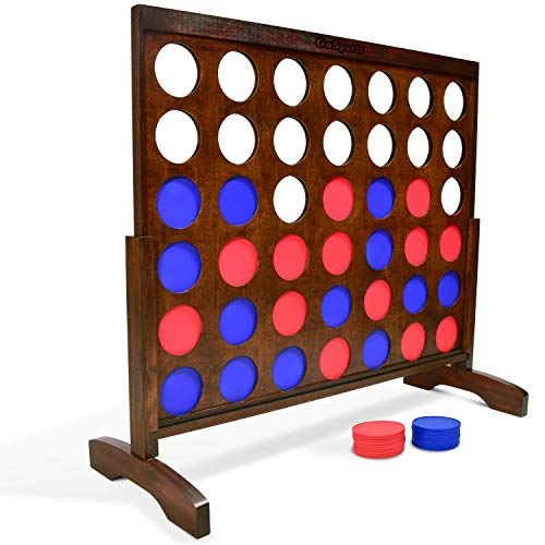 GoSports Giant Dark Wood Stain 4 in a Row Game - Huge 4 Foot Width - with Carry Case and Rules