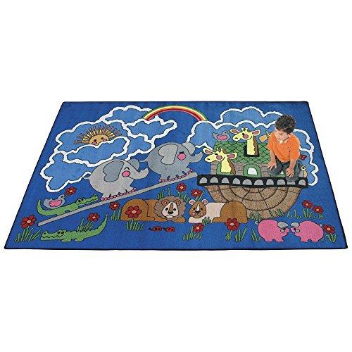 Joy Carpets Kid Essentials Inspirational Noah's Ark Area Rug, Multicolored, 7'8