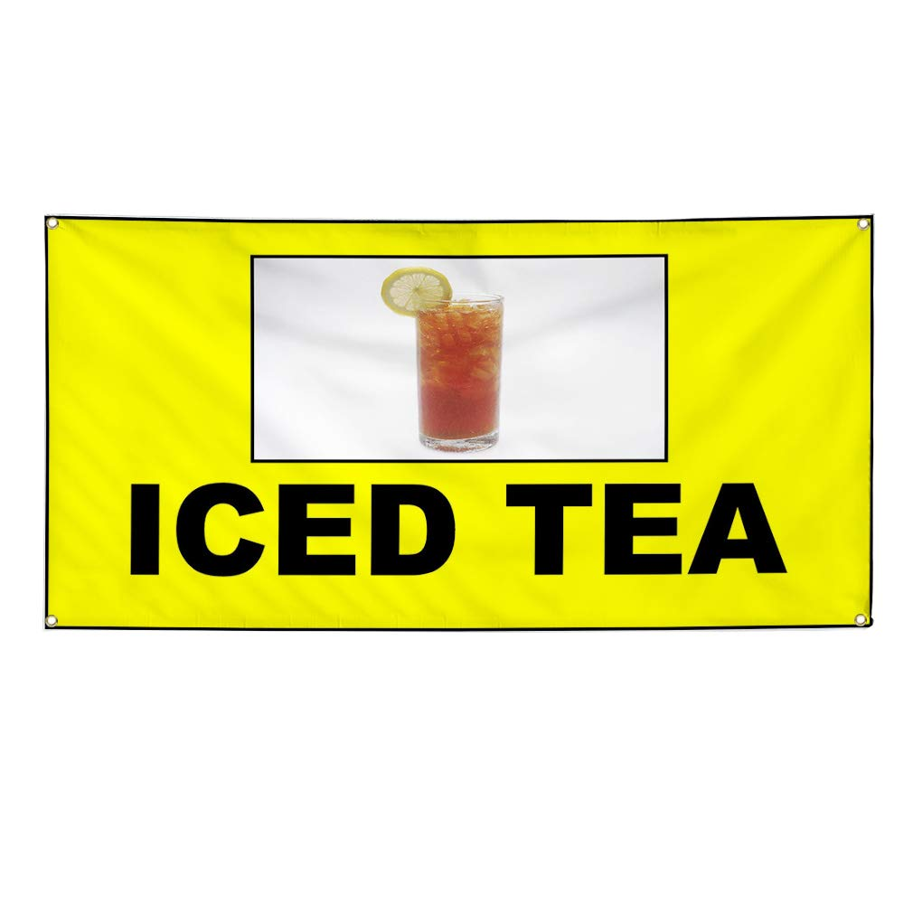 6 Grommets Multiple Sizes Available Set of 2 Vinyl Banner Sign Iced Tea Yellow White Black Iced Tea Marketing Advertising Yellow 32inx80in