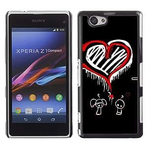 TECHCASE**Cubierta de la caja de protección la piel dura para el ** Sony Xperia Z1 Compact D5503 ** Heart Love Question Mark Red Boy Girl Art