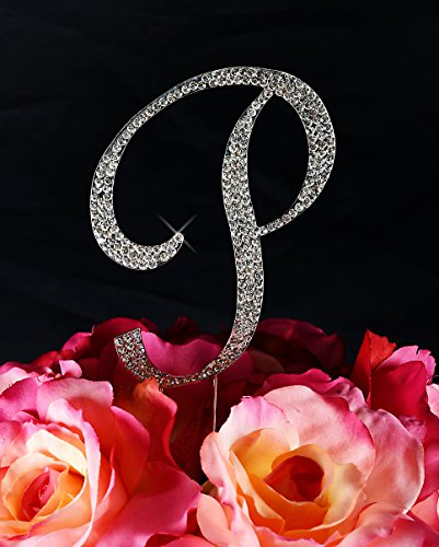 Completely Covered Swarovski Crystal Silver Wedding Cake Toppers ~ LARGE Monogram Letter P (Jewelry Cake Swarovski)