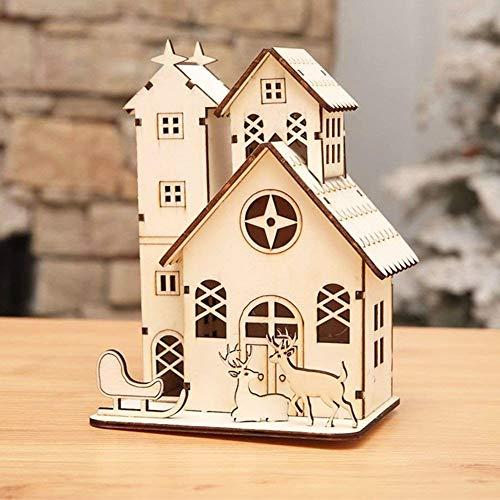Decoración de la Navidad, Casa de Madera Iluminada, 3D LED Rústico Luz Luminosa Reno de Navidad Torre Hueca Chalet para...