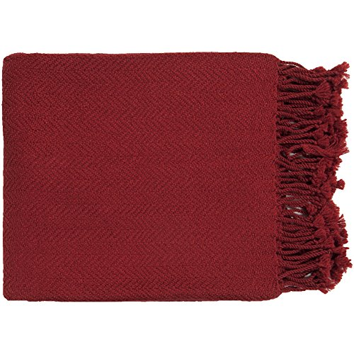 Surya Turner TUR-8405 Solid Knit Hand Woven 100% Acrylic Red 50