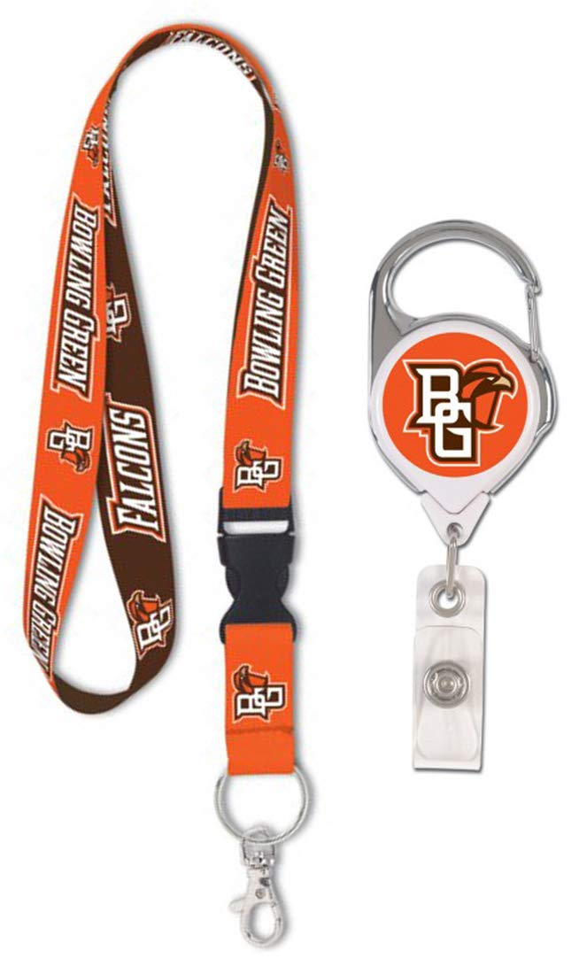 WinCraft Bundle 2 Items: Bowling Green State Falcons 1 Lanyard and 1 Premium Badge Reel Id Holder