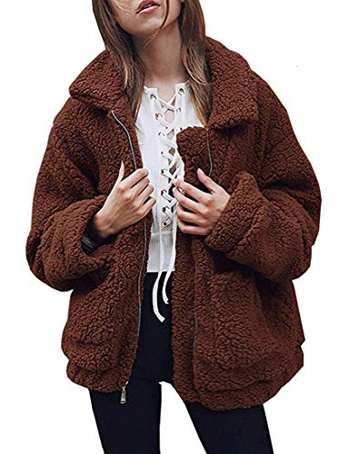 Womens Fashion Long Sleeve Lapel Zip Up Faux Shearling Shaggy Oversized Coat Jacket with Pockets (Brown,L)