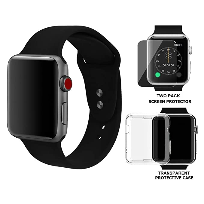 Palestrapro Iwatch Bands 38mm Compatible with Apple Smartwatch Series 3 and Series 2 | Silicone Black Sport Strap with 2-Pack Tempered Glass Screen ...